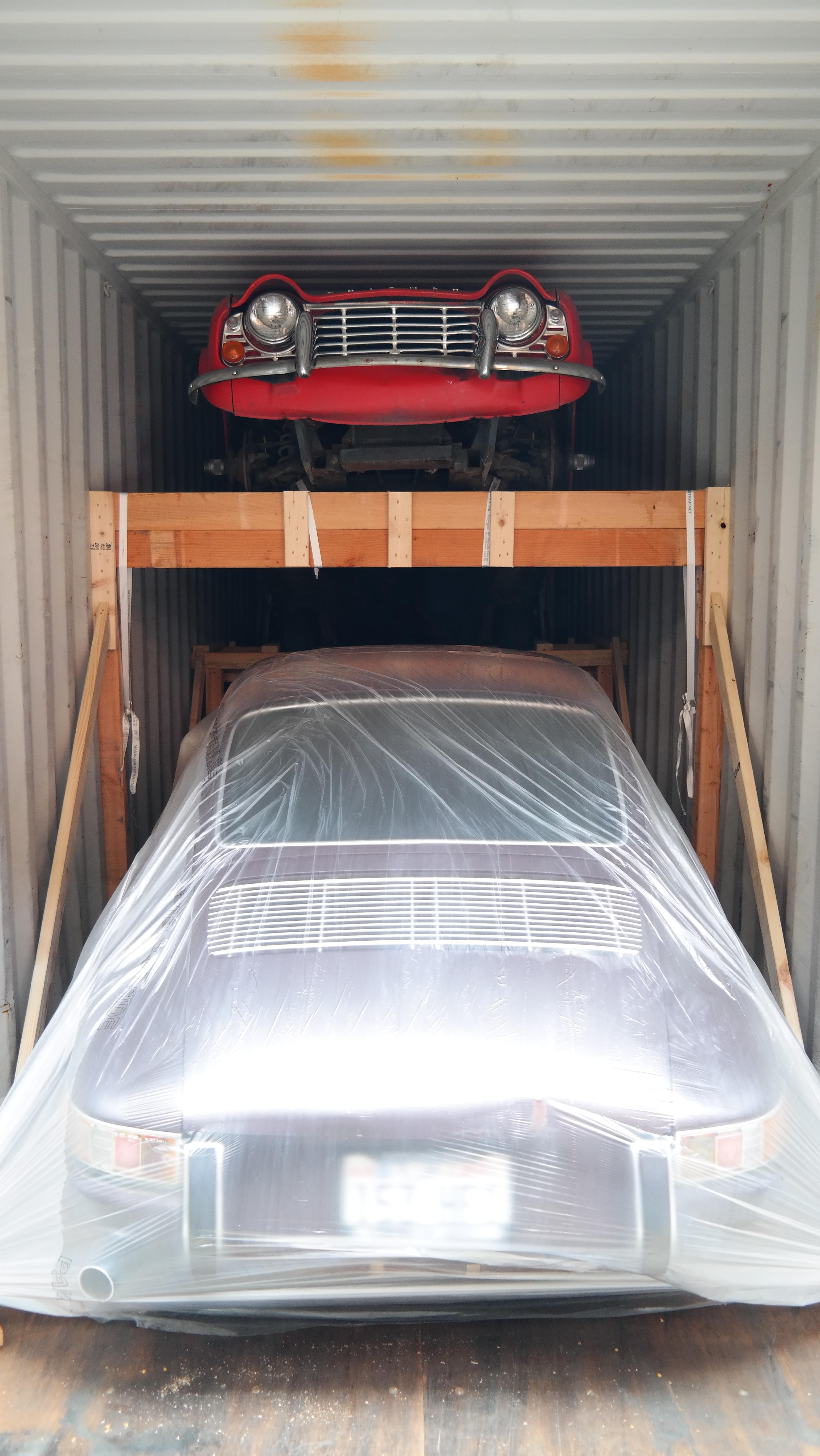 Classic Cars loaded and shipped in a container
