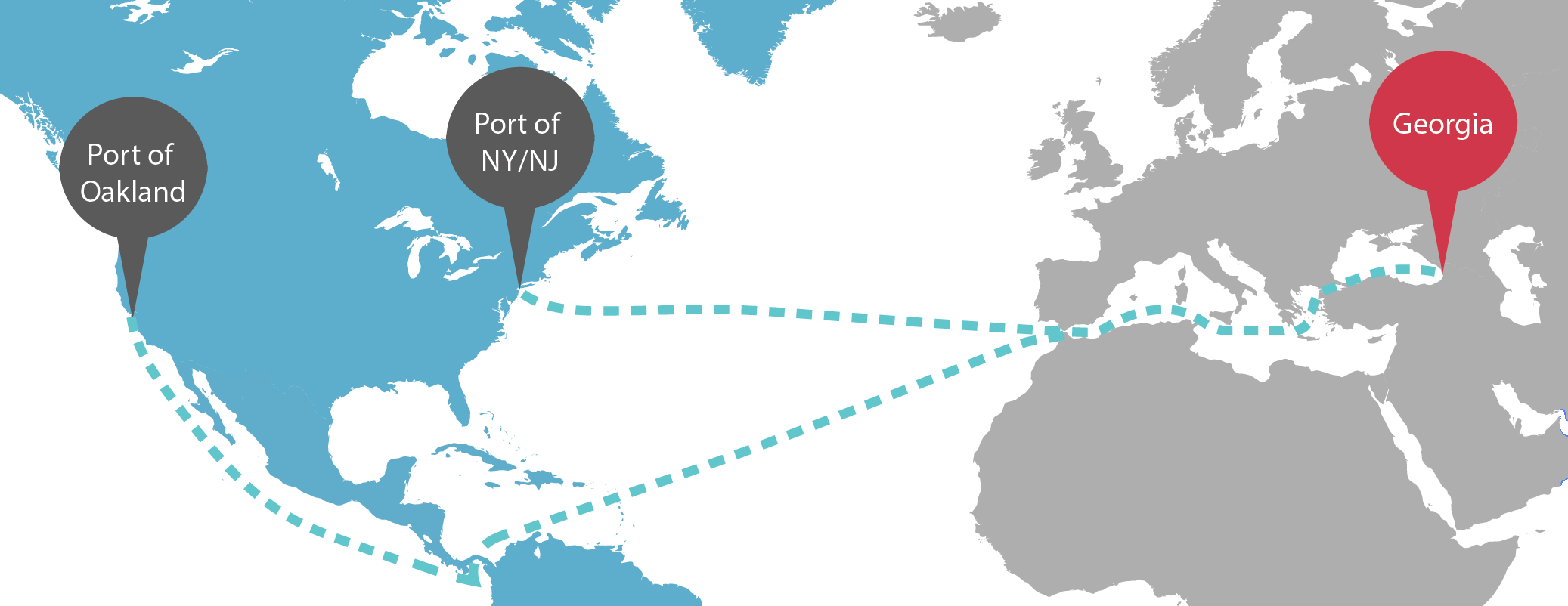 USA to Georgia container shipping route