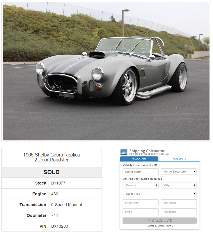Car Dealers International Auto Shipping Quote Calculator
