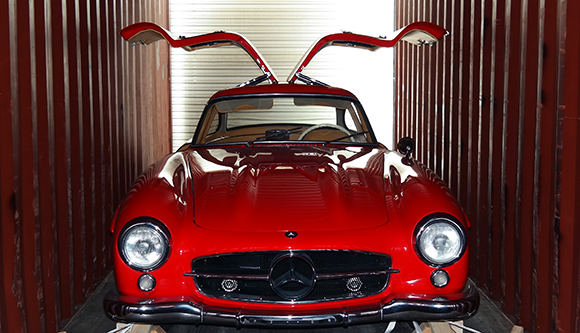 Mercedes 300SL Gullwing shipping overseas in a container
