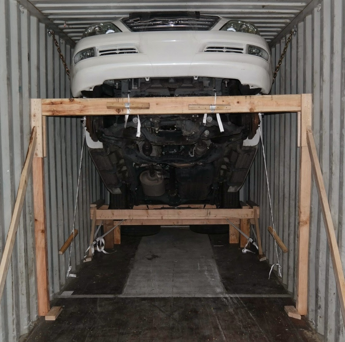 Lexus GX 470 loaded in a container