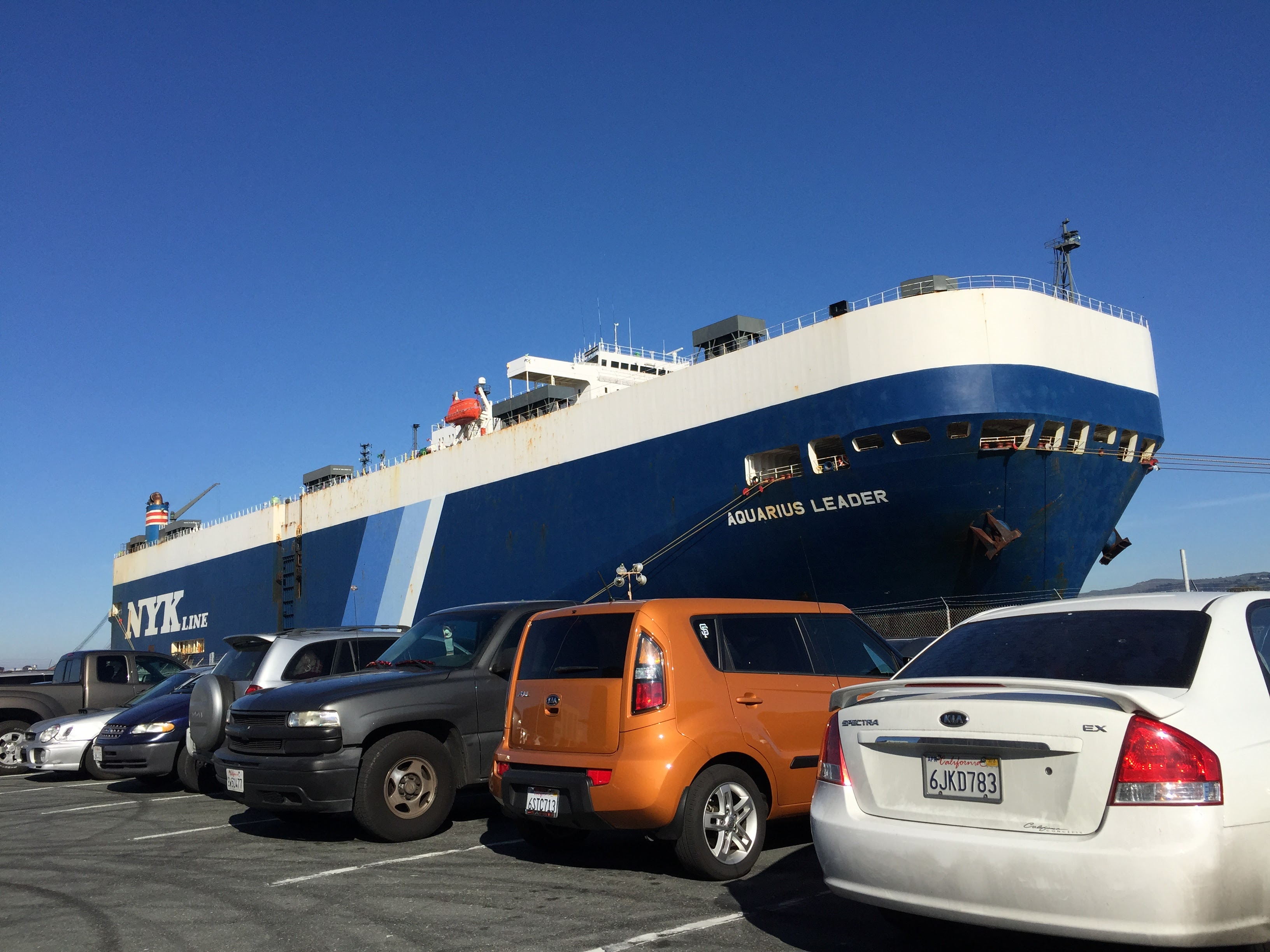 Cars being shipped overseas on a RoRo ship