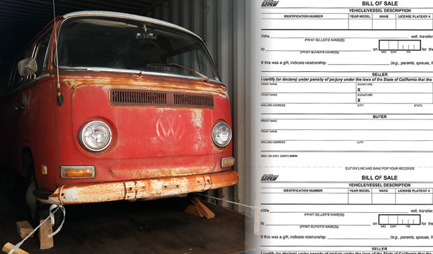 International Car Shipping Bill of Sale
