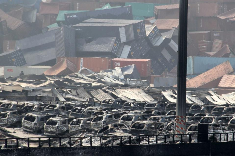 tianjin shipping container explosion cars