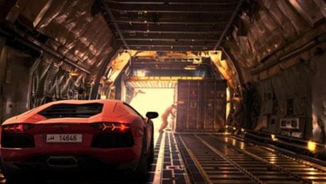 Lamborghini Aventador inside airplane