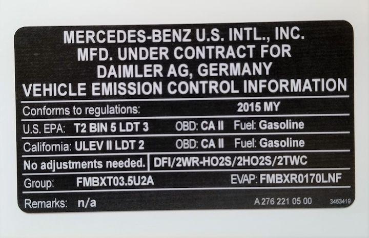 vehicle emissions sticker