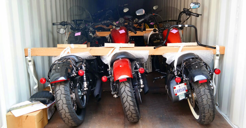 Motorcycle in shipping container